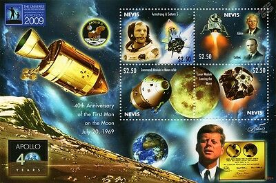 First Man on the Moon Space Stamp Sheet 2009 Nevis/JFK/Neil Armstrong/Apollo XI