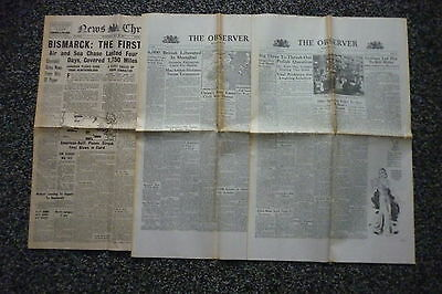 WWII Wartime Newspapers,2 Observers & 1 News Chronicle.Job Lot