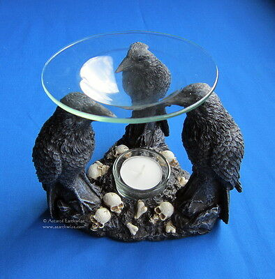 3 RAVENS OIL BURNER 140 x 165 mm Wicca Pagan Witch Goth POLYRESIN