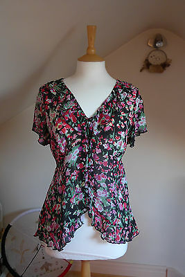 Wallis Floral Short Sleeved Blouse - Pink/Black/Green/White - Size 16