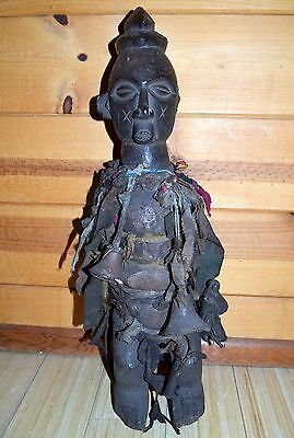 Antique African Yaka Tribe Carved Wood Fetish Figure Bound W Fabric Congo Africa