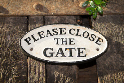 "Nostalgisches Schild ""Please close the Gate"" aus Gusseisen"