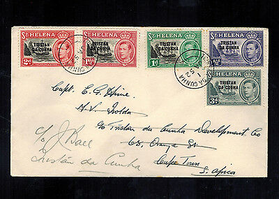 1952 Tristan da Cunha first Issues First day Cover to South Africa and Returned