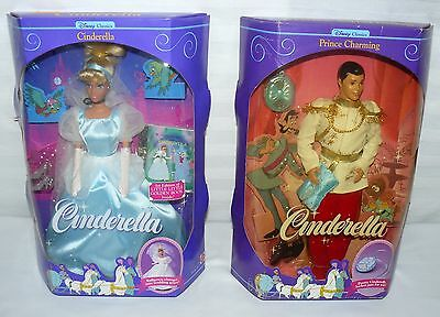 "Mattel Set Of 2 Cinderella Wedding Day Prince Charming 11"" Action Figure Dolls"