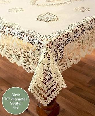 """Beige Crochet Lace Vinyl Tablecloth Vintage Look Kitchen Dining Table 70"""" Round"""