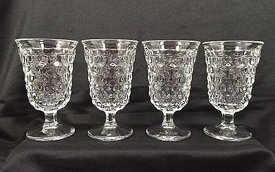 "Vtg 4 Fostoria American Colony Whitehall Cube Footed 5 1/2"" Clear Water Glasses"