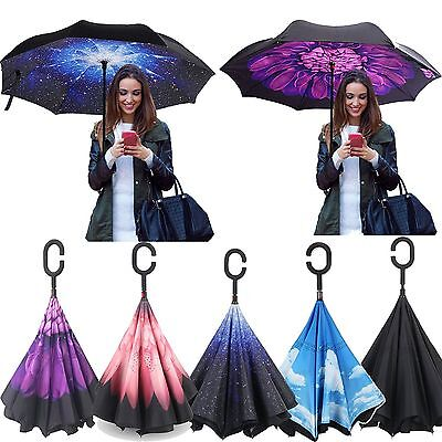 HOT Creative Upside Reverse Double Layer Umbrella Folding Inverted Windproof Car