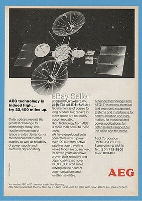 1985 AEG Technology Giant Satellite Outer Space GREAT ART Ad