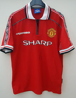 Manchester United Treble  Shirt By Umbro  Size L Signed By Andy Cole