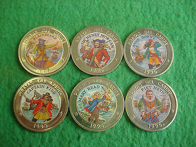 1995 caribbean island 1 ( roman one )  Coin X 6  Pirates of the Caribbean