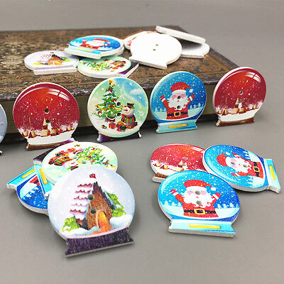 DIY 25X Wooden Crystal ball shape Christmas pattern Mix Sewing Scrapbooking 30mm