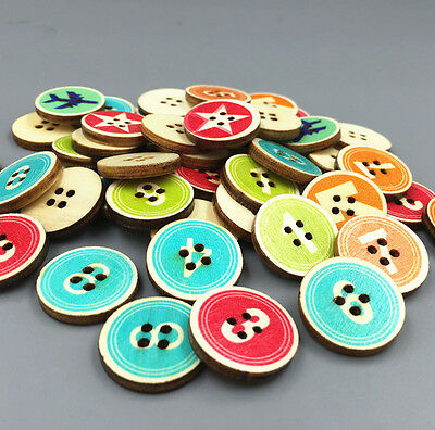 50X Retro Round Wooden Buttons Mixed Digital Fit Sewing scrapbooking crafts 20mm