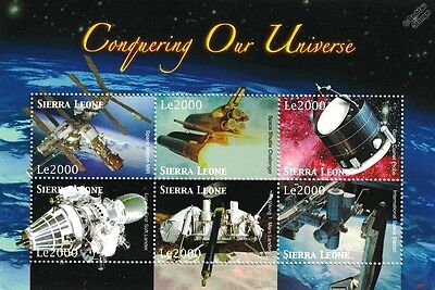 CONQUERING OUR UNIVERSE Space Stamp Sheet (MIR/ISS/Shuttle Challenger/Giotto)