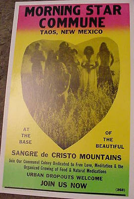 1960's HIPPIE COMMUNE TAOS POSTER New Mexico nude art nudist colony Mountains NM