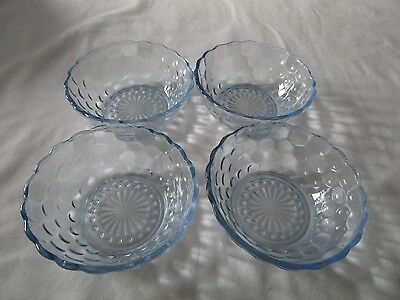 """Lot of 4 Vintage Anchor Hocking Blue Bubble Glass Berry Bowls 4 1/2"""""""