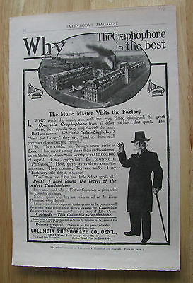 0898 Vintage Magazine Ad (1906) Columbia Phonograph Co Factory Music Master