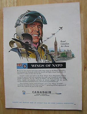 "0895 Vintage Magazine Ad (1956) RCAF Canadair Jet Aircraft ""Wings of Nato"""