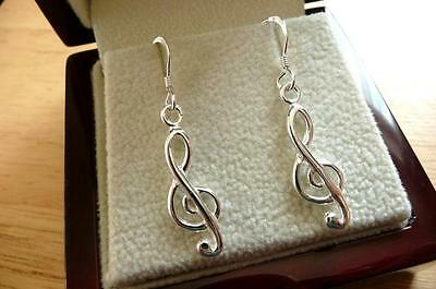 925 Sterling Silver Music Note Treble Clef Long Drop Dangle Hook Earrings