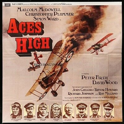 """Original ACES HIGH English 6 Sheet Movie Theatre Poster 79 1/2""""x80"""" WWI DOGFIGHT"""