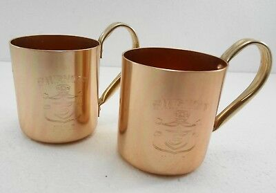 Smirnoff Moscow Mules Copper Mugs Set of 2 Unused Made in Hong Kong