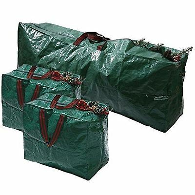 3pcs X-Large Christmas Tree Decorations Long Storage Zip Bags with Handles Set