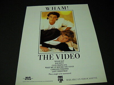 WHAM! The Video available on videocassette 1985 PROMO POSTER AD mint condition