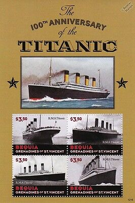 1912-2012 RMS TITANIC Ship Stamp Sheet (2013 Bequia Grenadines of St Vincent)
