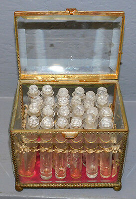 ANTIQUE 19c APOTHECARY PERFUME SCENT CRYSTAL BOTTLE STORE DISPLAY CASKET BOX