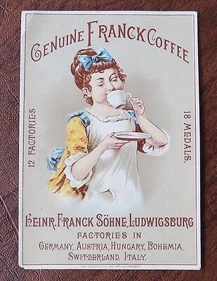 Victorian Trade Card, Genuine Franck Coffee, Young Girl Sipping from Coffee Cup