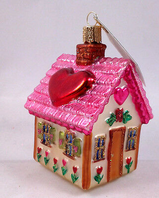PINK SWEETHEART COTTAGE Love Glass Ornament Old World Christmas NEW IN BOX