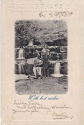 Pretoria,Süd-Afrika,1903,wish best wishes,study in black,Zulu-Paar,Wasserfall