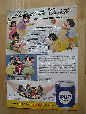 0883 Vintage Magazine Ad (1937 Karo Syrup Dionne Quints Playing