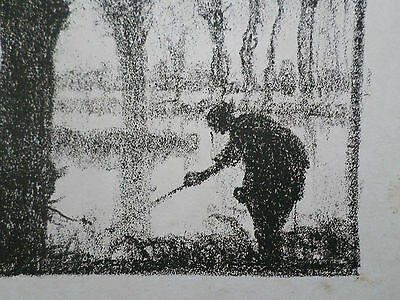 FRANK BRANGWYN original lithograph c.1927 'Trees in Water' (The Angler)