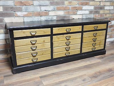 Vintage Sideboard, Large Retro Industrial Drawers Sideboard Unit Vintage Storage