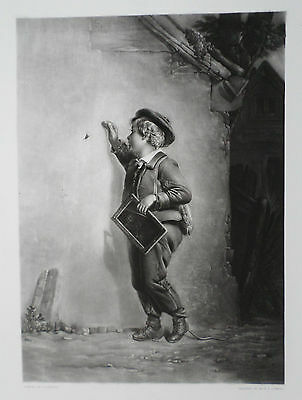 The Loiterer - charming mezzotint published in 1853