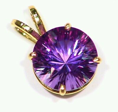 14K Solid Gold Natural Amethyst Round Cut Halo Deco Engagement Necklace Vintage