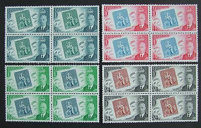 Set of 1952 Barbados stamp centenary mint stamps in blocks of 4