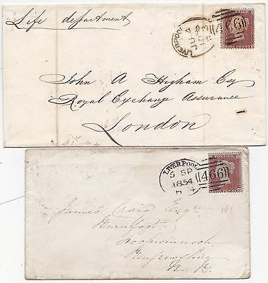 1854 SEP 5 & 1856 JUN 4 - 2 x DIFF LIVERPOOL SPOON POSTMARKS ON 1d STAR WRAPPERS