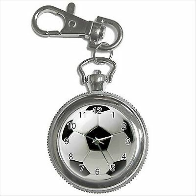 NEW* HOT FOOTBALL Silver Tone Key Chain Ring Watch Gift