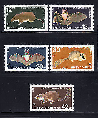 Bulgaria 1983 Rodents and Bats Sc 2942-2946 complete mint never hinged