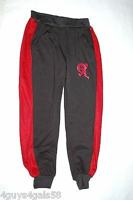 Boys BLACK RED KNIT ATHLETIC PANTS Cuff Leg BASKETBALL EMBLEM 2 Pocket M 8-10