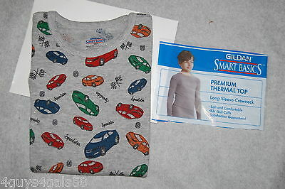 Boys L/S Long Underwear Shirt GRAY RACE CARS Waffle Knit Thermal M 8-10