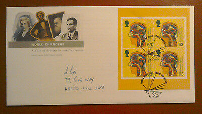 1999 ROYAL MAIL FDC -£6.99 WORLD CHANGERS BOOK PANE - 4 x 63p COMPUTERS - DOWNE