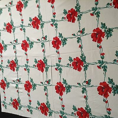 """Vtg COTTON TABLECLOTH Red Carnation Motif 55x44"""" No tears or holes"""