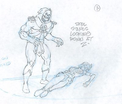 HE-MAN Skeletor Masters of the Universe Animation Cel drawing Filmation