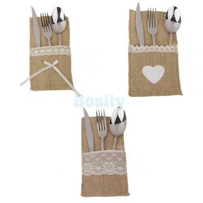 Hessian Burlap Cutlery Holder Heart Lace Wedding Party Tableware Pouch Bag