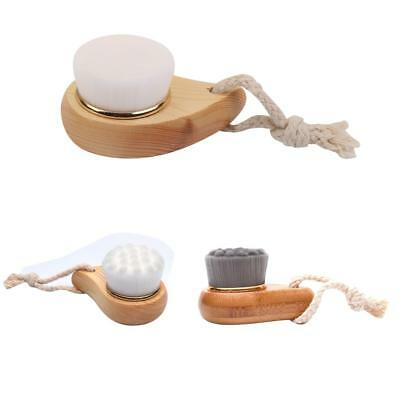 Pine Wood Exfoliating Facial Brush w/ Soft Bristle Body Face Cleaning Skin Care