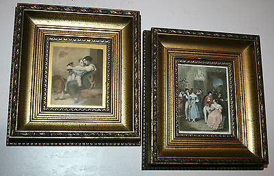 Pair Vintage Gold Solid Wood French Style Picture Frames Antique Prints Rococo