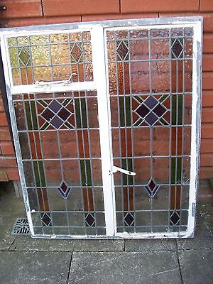 VINTAGE WINDOWS-1930s ORIGINAL STAINED GLASS DOUBLE CRITTALL WINDOW-100x122cms