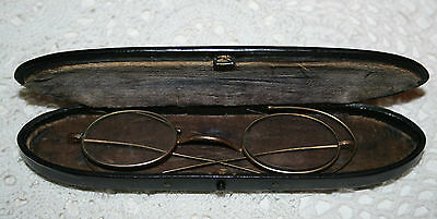 Antique Rolled Gold Spectacles & Paper Mache Lacquered Inlaid Case Old Glasses